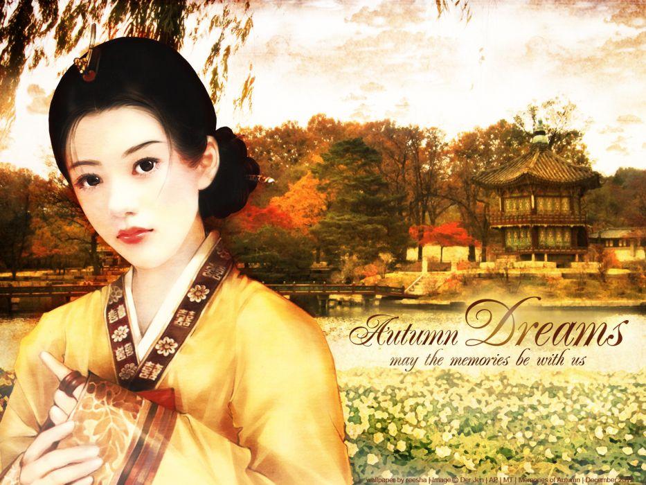asian oriental fantasy ary women kimono wallpaper