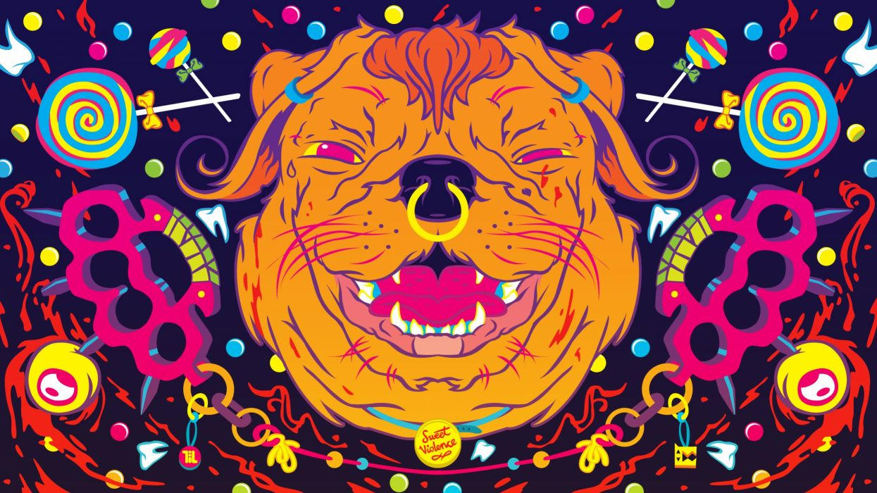dogs psychedelic color art abstract wallpaper