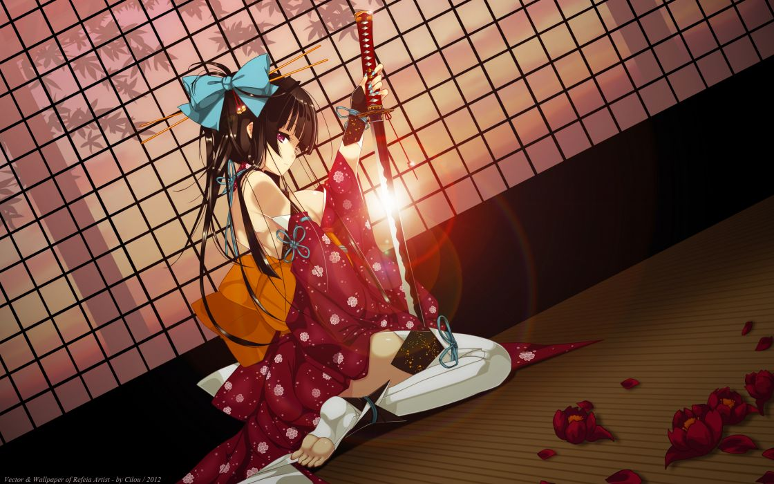 refeia original girl warriors asian oriental weapons sword katana kimono wallpaper