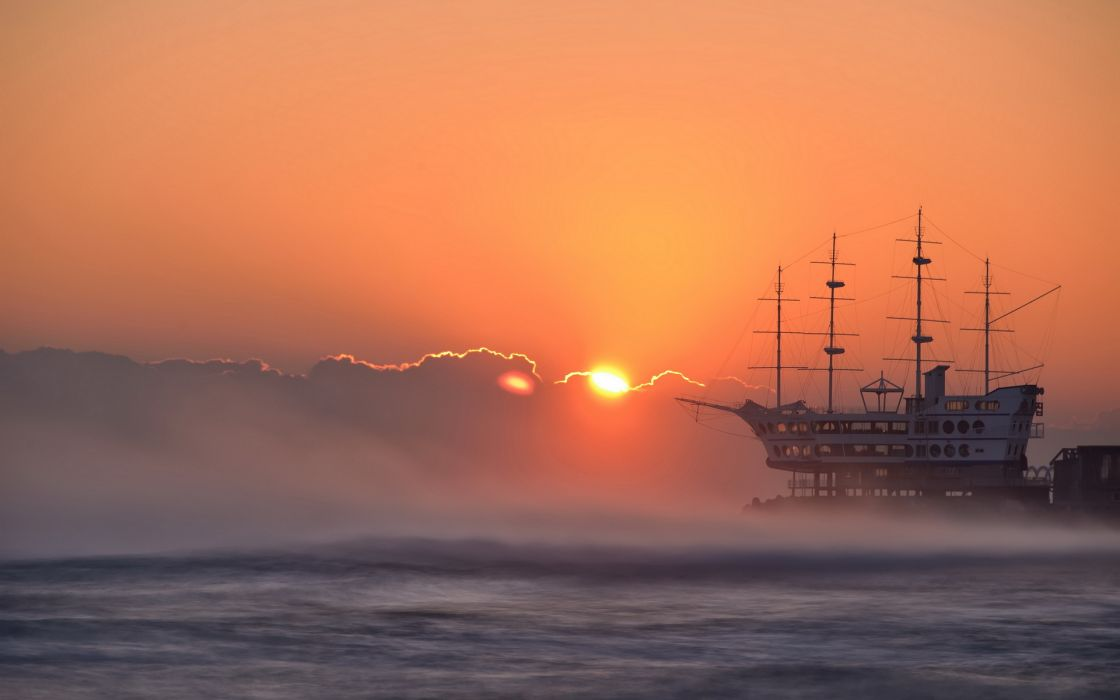 seascape ocea sea sky sunset sunrise ships architecture wallpaper