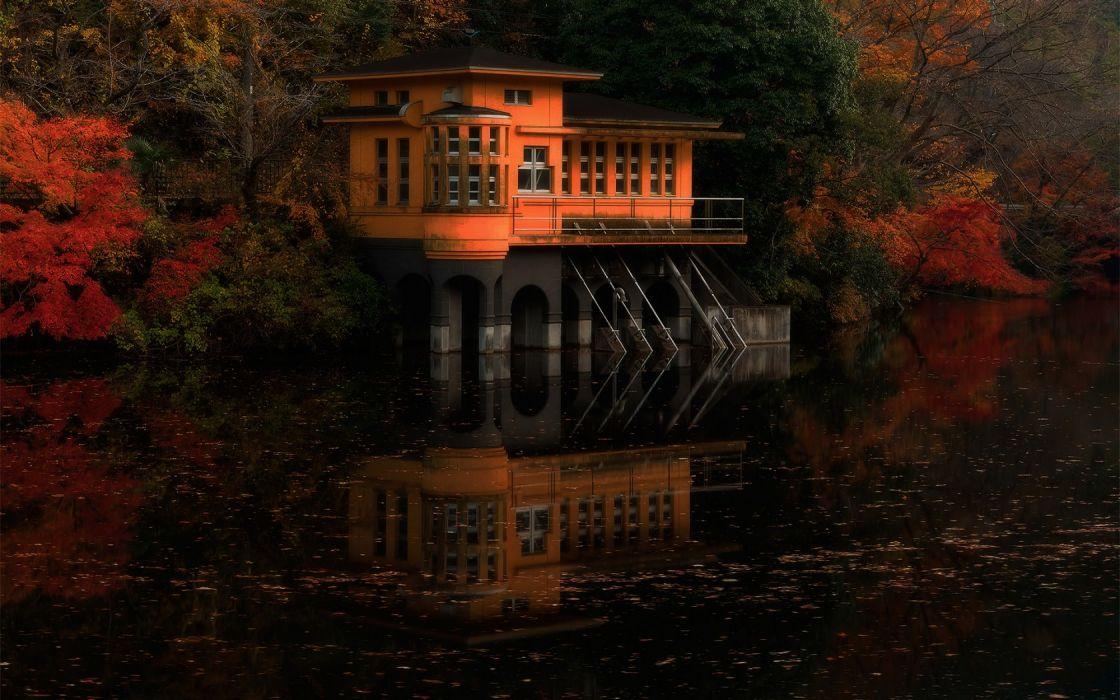 japan landscapes lakes garden house sunset sunrise autumn fall trees wallpaper