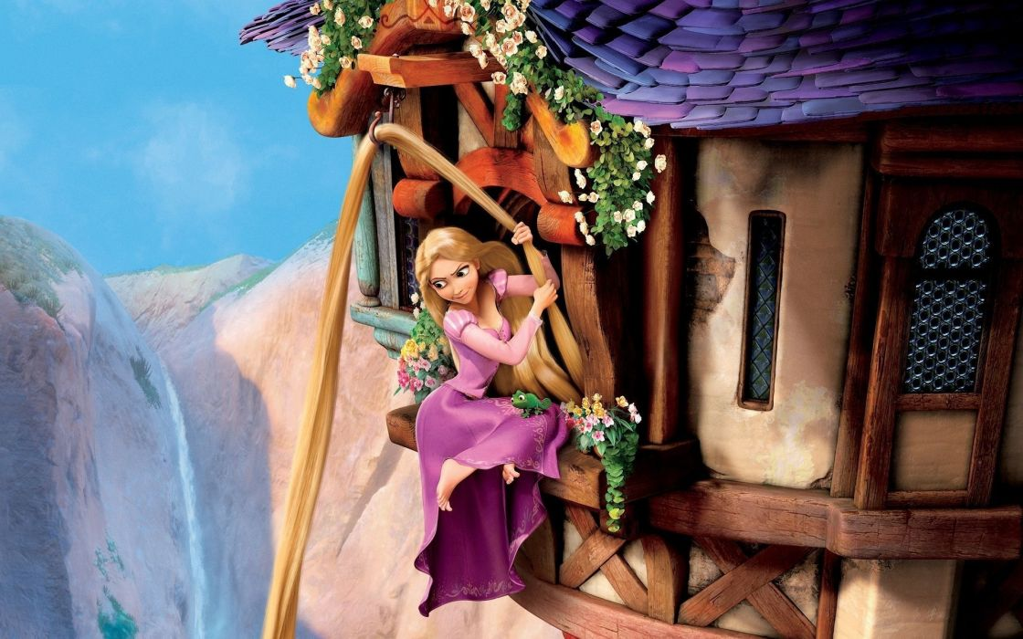princess Rapunzel hair chameleon complicated story windows Goldilocks tower mountains flowers wallpaper