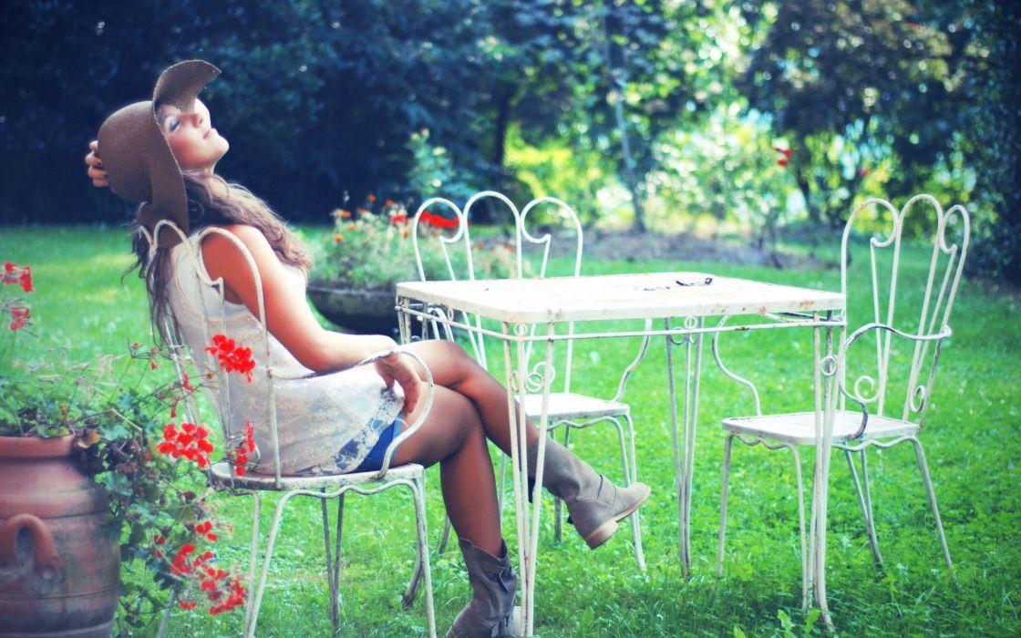 mood relax happy women models brunettes babes nature wallpaper
