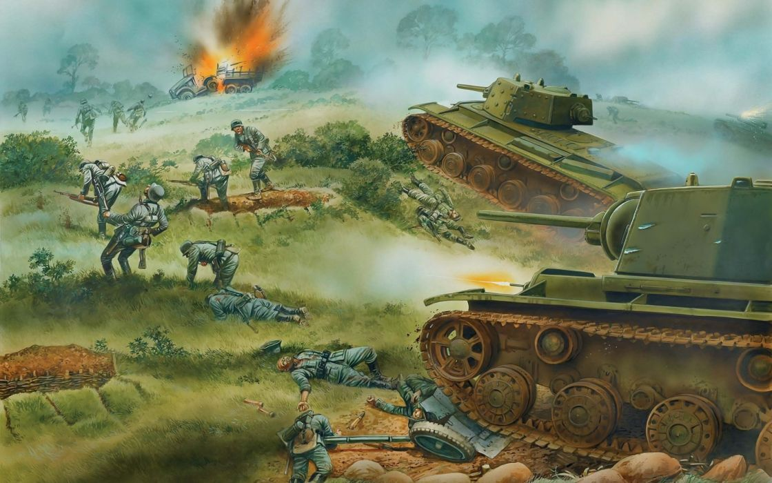 art painting battle war warriors soldiers tanks landscapes wallpaper