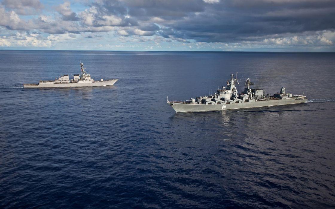 military navy ocean sea weapons sky clouds wallpaper