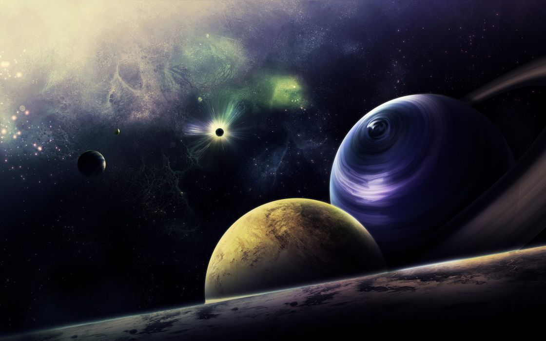 sci fi science outer space planets moons stars nebula wallpaper