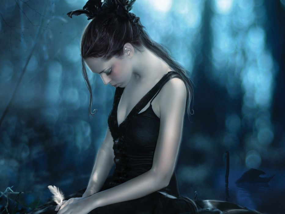 fantasy art gothic women brunettes mood babes sad sorrow emotion wallpaper