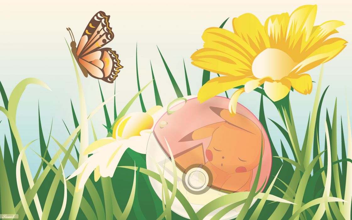 Pokemon Series Game Pikachu flowers butterfly nature wallpaper