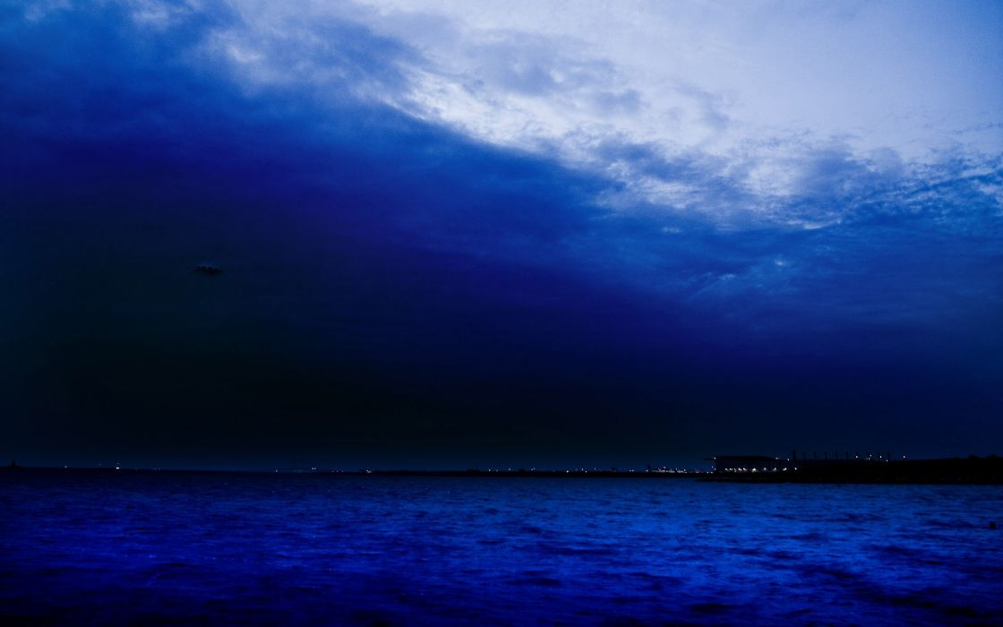 landscapes lakes sea ocean coast shore night lights sky clouds wallpaper