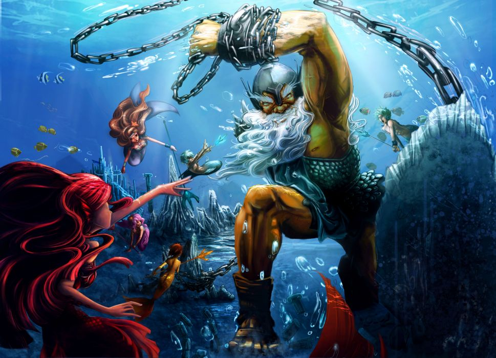 fantasy art mermaids sexy babes warriors weapons chain underwater battle ocean wallpaper
