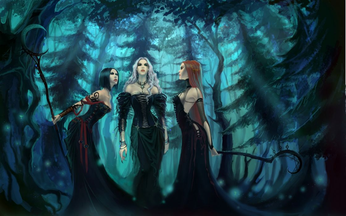 fantasy art dark witches occult trees forest spooky women sexy babes brunettes blondes redhead wallpaper
