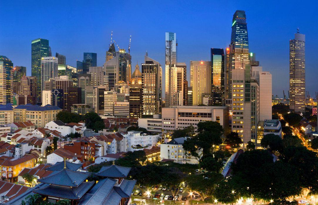 Singapore Houses Skyscrapers buildings skyline cityscape wallpaper