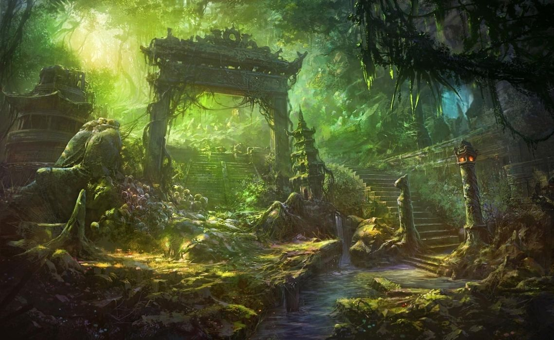 Fantasy Art Temple Trees Forest Jungle Landscapes Decay Ruins Wallpaper 1920x1180 34271