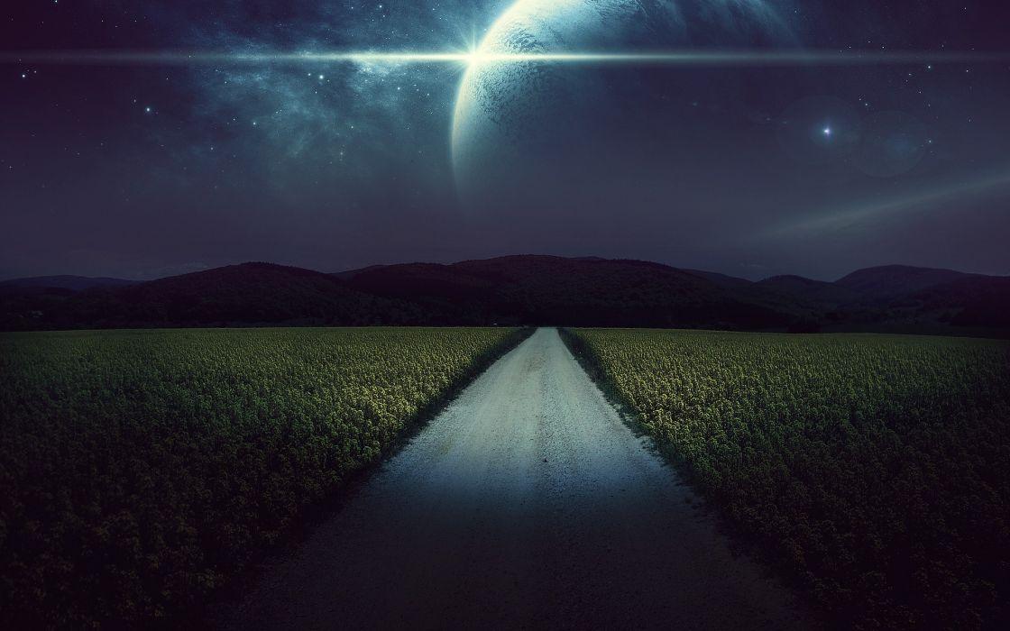 cg digital art landscapes fields crops mountains sci fi science planets moon stars wallpaper