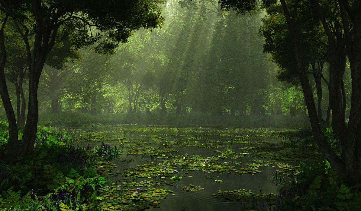 cg digital art lakes swamp landscapes sunlight filtered beam rays forest wallpaper