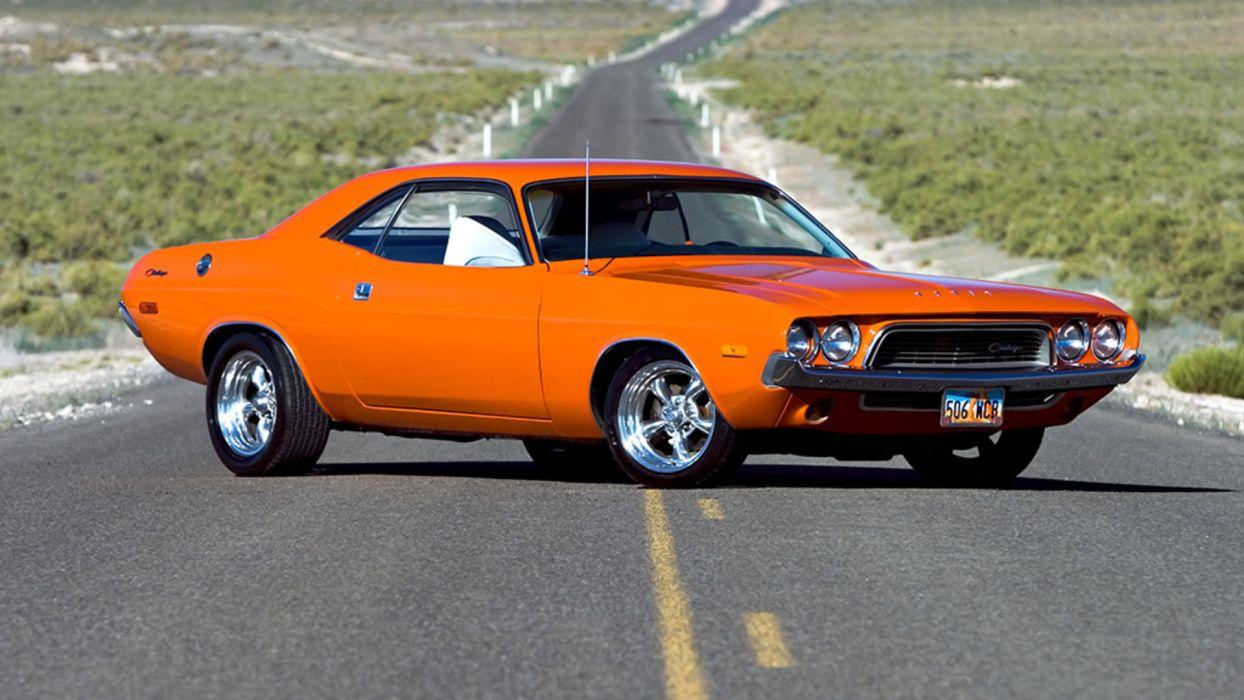 Dodge Challenger roads muscle cars orange hot rod wallpaper