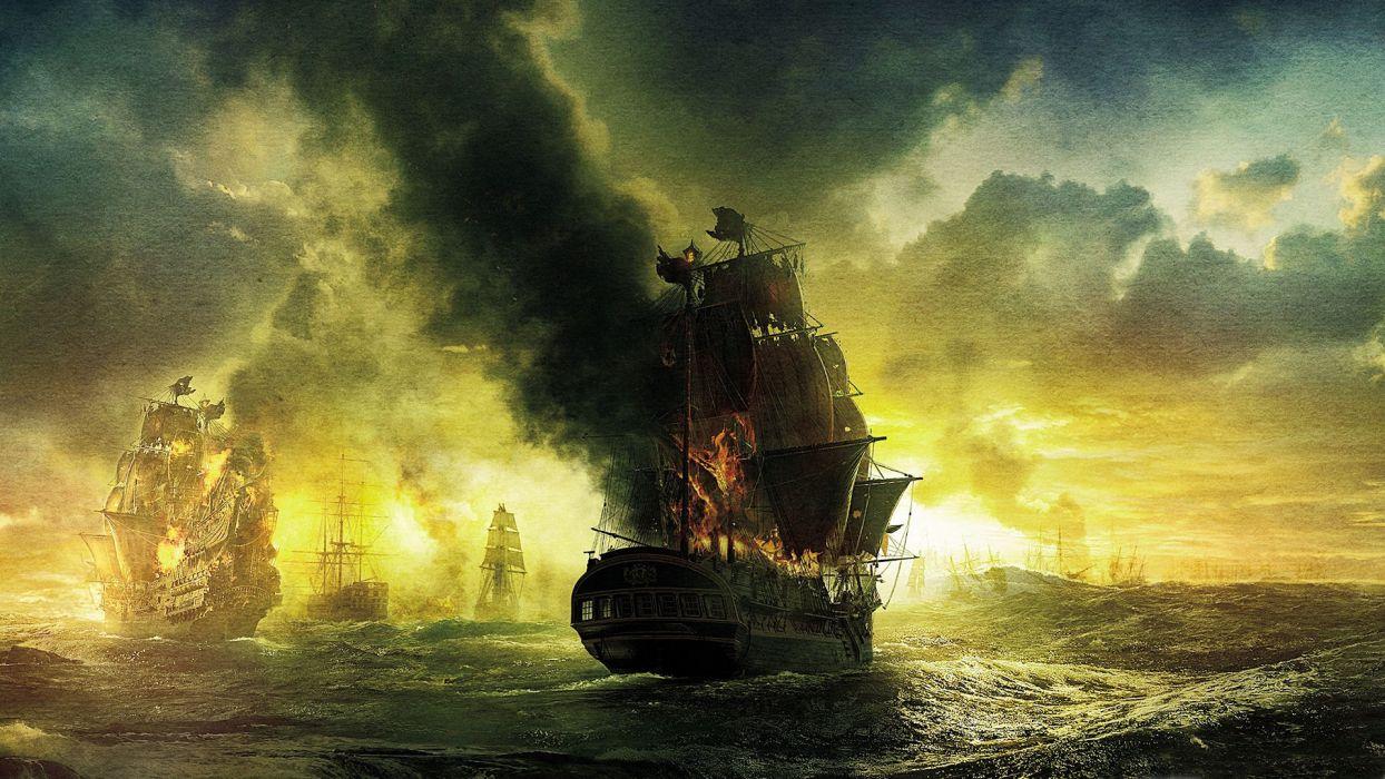 pirates of the caribbean fantasy art ocean sea ships galleon fire war battles wallpaper