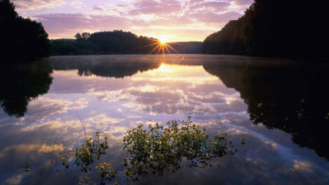 landscapes reflection water sunrise sunset sky clouds wallpaper