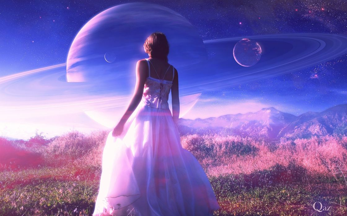 fantasy art landscapes mountains sci fi science sky planets girl women blondes gown mood wallpaper