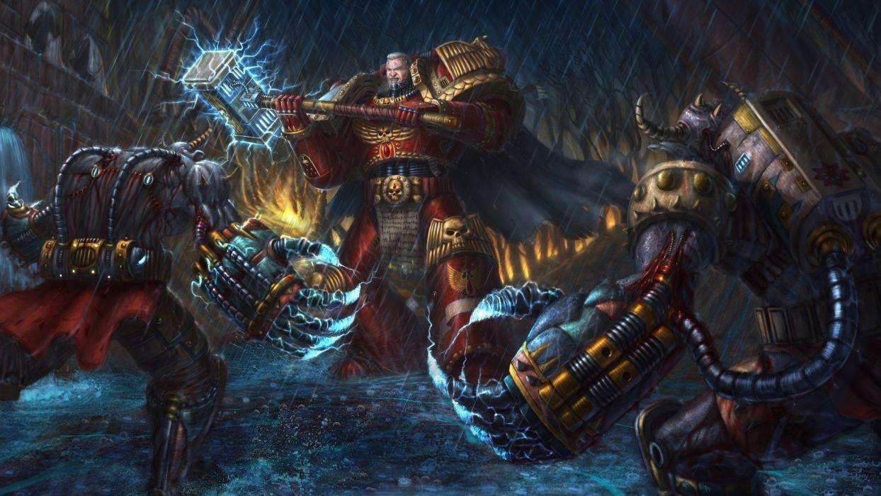Warhammer 40K space marines sci fi warriors weapons fantasy art wallpaper