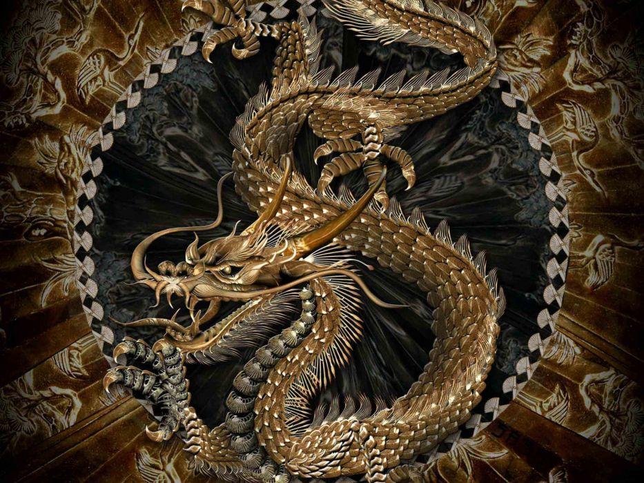 fantasy art dragons asian oriental wallpaper
