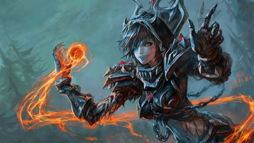 world of warcraft fantasy art artwork 1920x1080 wallpaper Abstract Arts HD magic girl dark armor wallpaper