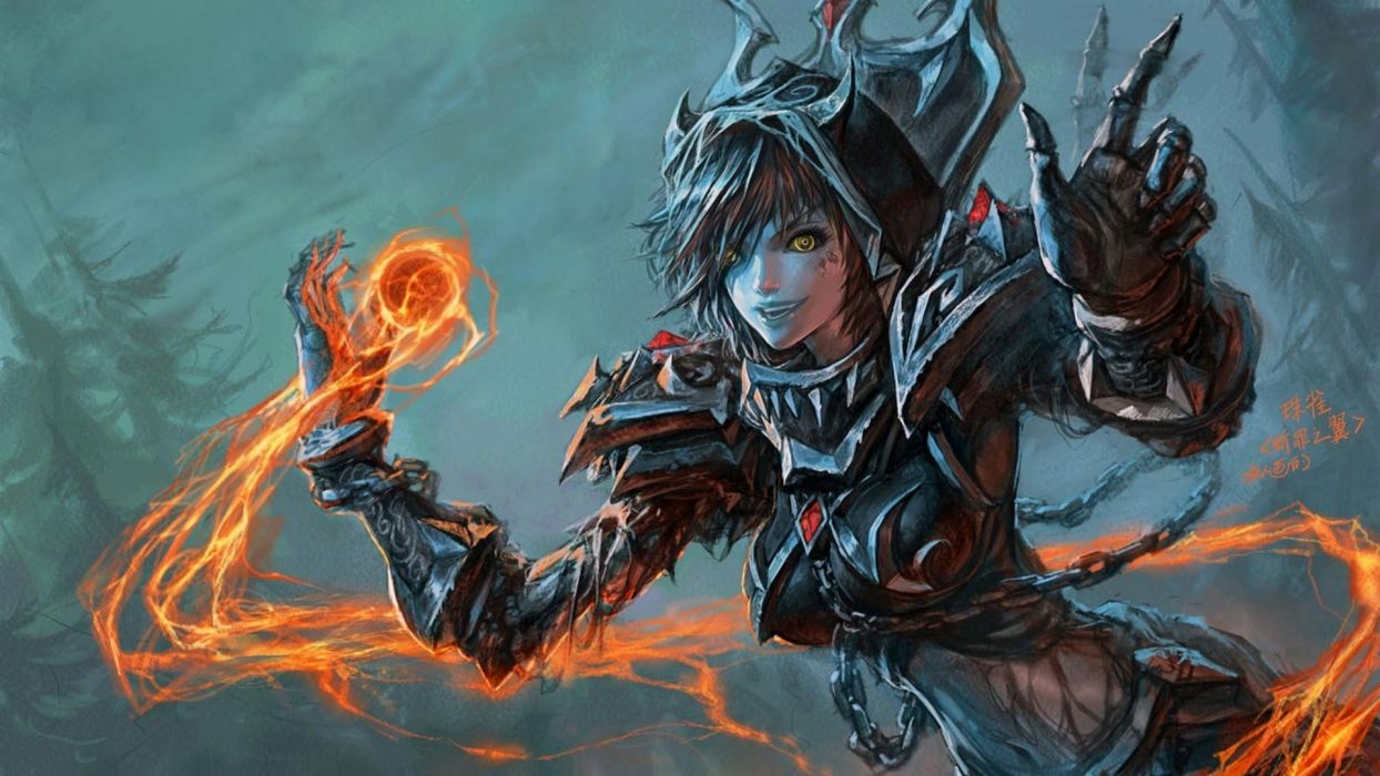 world of warcraft fantasy art artwork 1920x1080 wallpaper Abstract Arts HD magic girl dark armor wallpaper