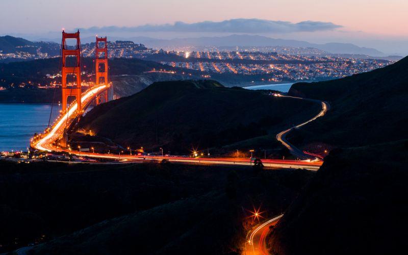 Golden Gate Bridge Bridge San Francisco Timelapse cities night sunset sunrise landscapes wallpaper