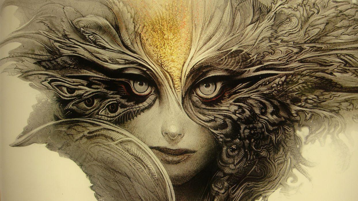 fantasy art dark demon face eyes pov women wallpaper