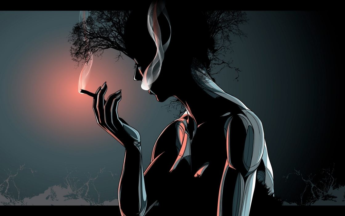 women girl nature trees cigarette mood fire sexy babes surreal wallpaper