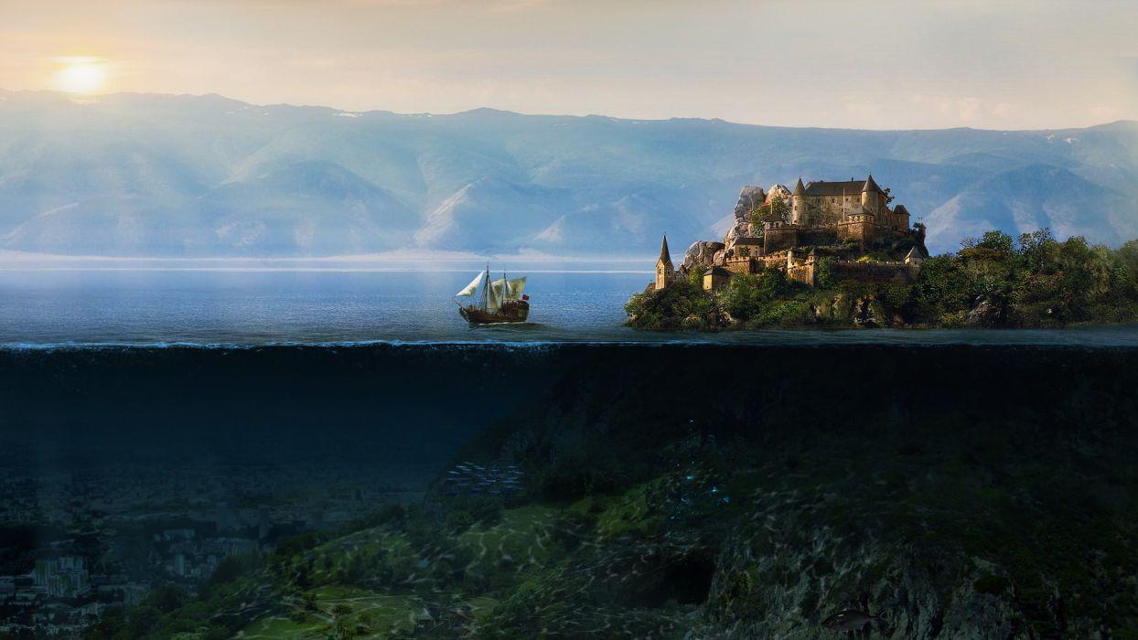 cg digital art fantasy manip ocean sea underwater ships sailing cities architecture buildings castle wallpaper