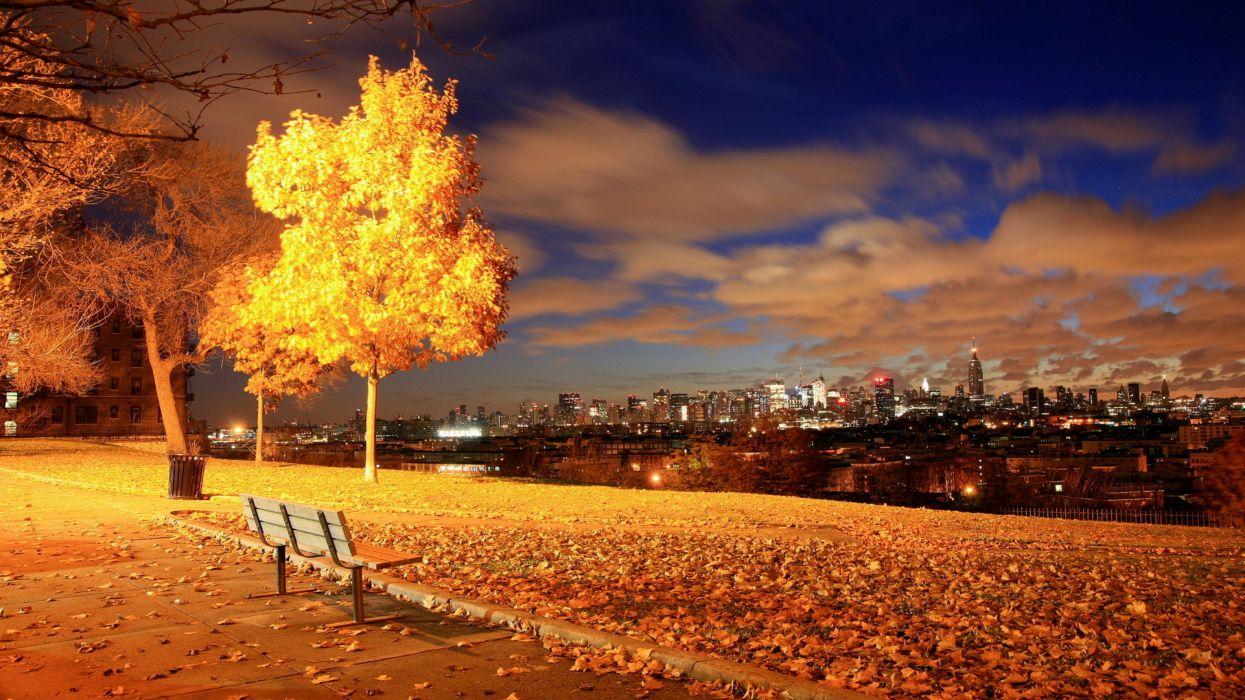 skyline cityscape nature garden park bench trees night lamp post light sutumn fall leaves wallpaper