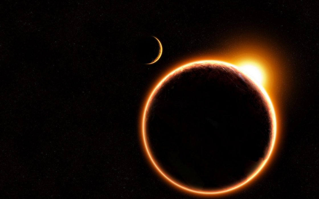 sci fi science planets sun moon silhouette wallpaper