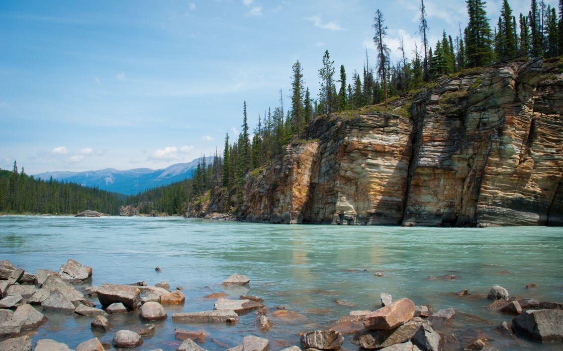 landscapes rocks trees sky wallpaper