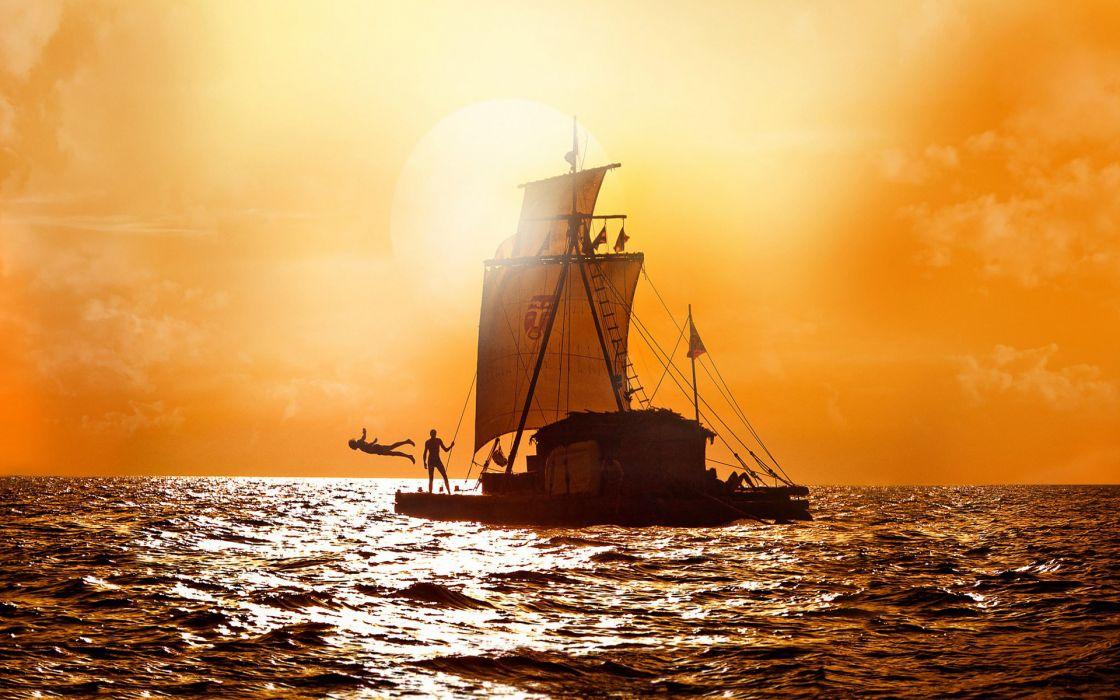Kon Tiki (2012) ocean sea nature sunset sunrise sports diving sky clouds people mood women men wallpaper