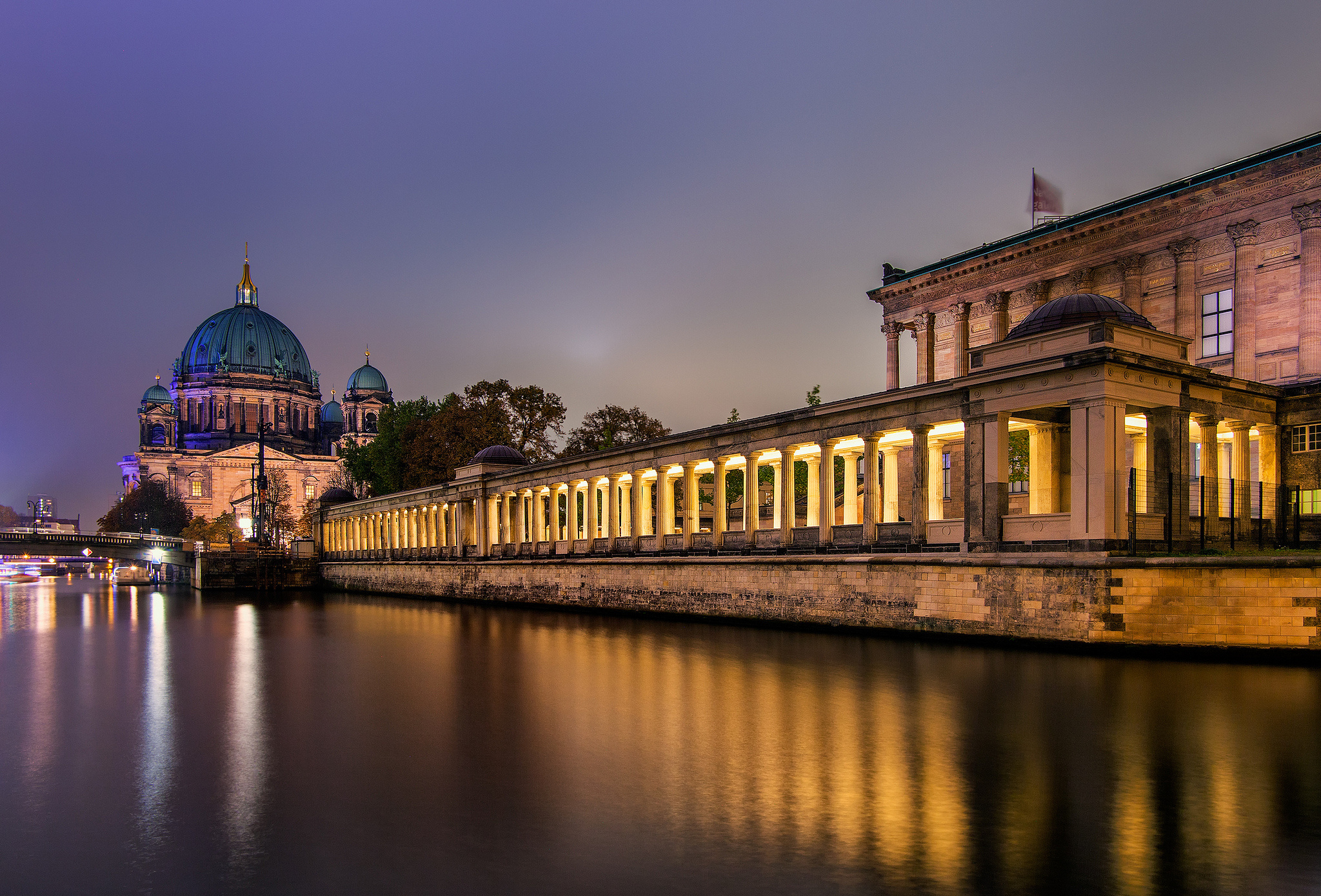 night germany berlin cathedral museum island buildings