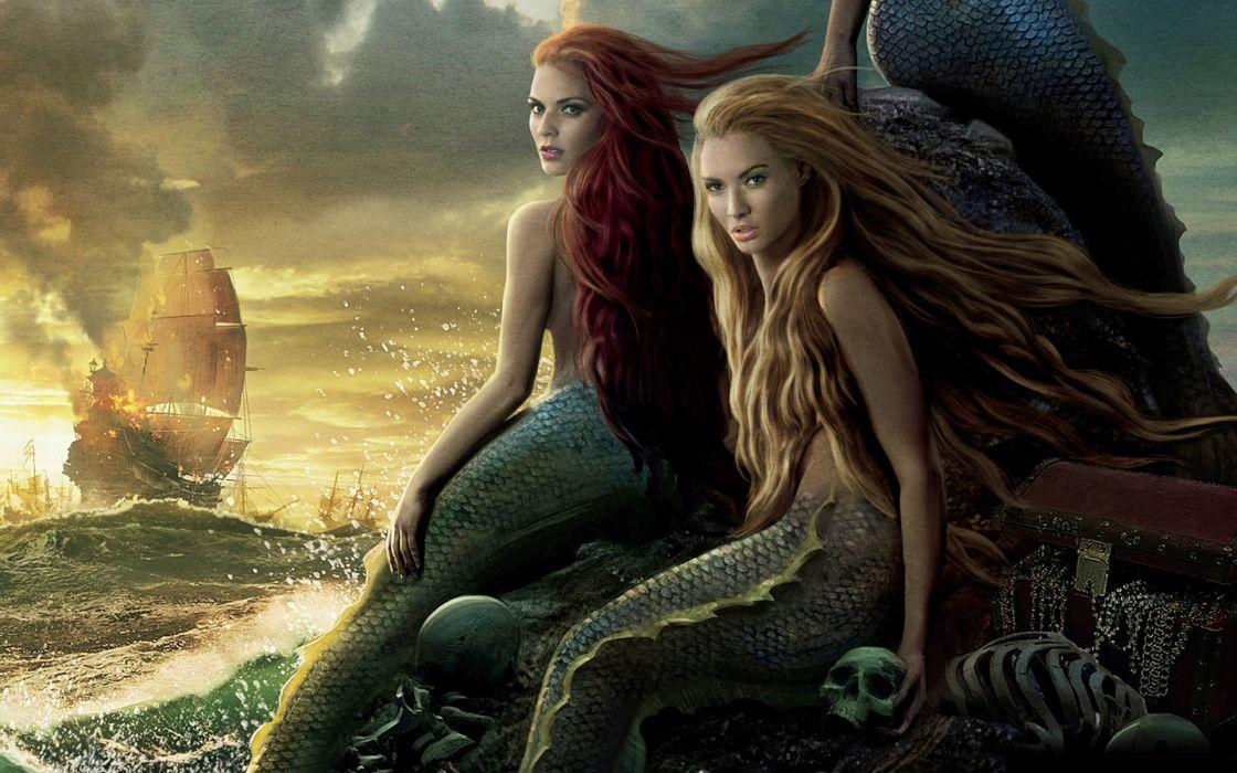 pirates of the caribbean fantasy mermaids ocean sea ships destruction ships women sexy babes redheads blondes wallpaper