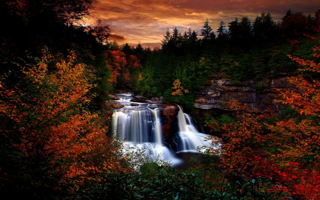 landscapes trees forest woods rivers autumn fall sunset sunrise sky clouds leaves wallpaper