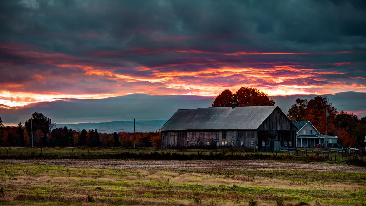 nature landscapes houses barn farm rustic fields trees autumn fall sunset sunrise sky clouds wallpaper
