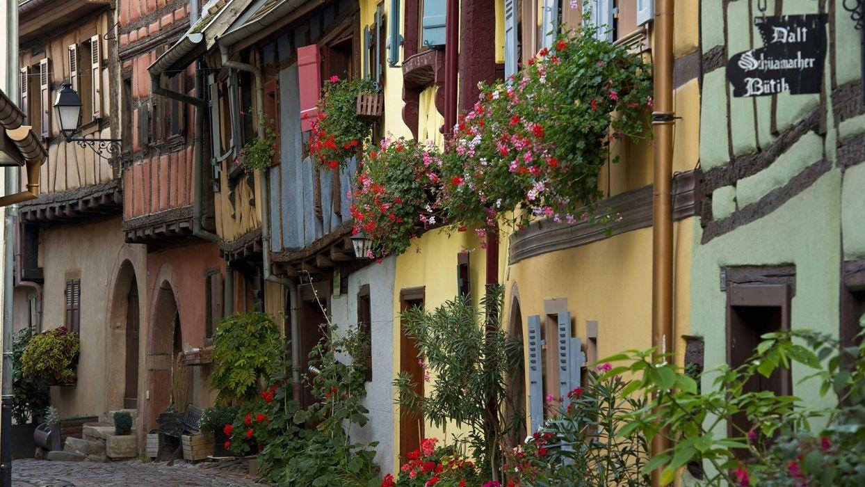 france buildings hoses roads plants flowers window door wallpaper
