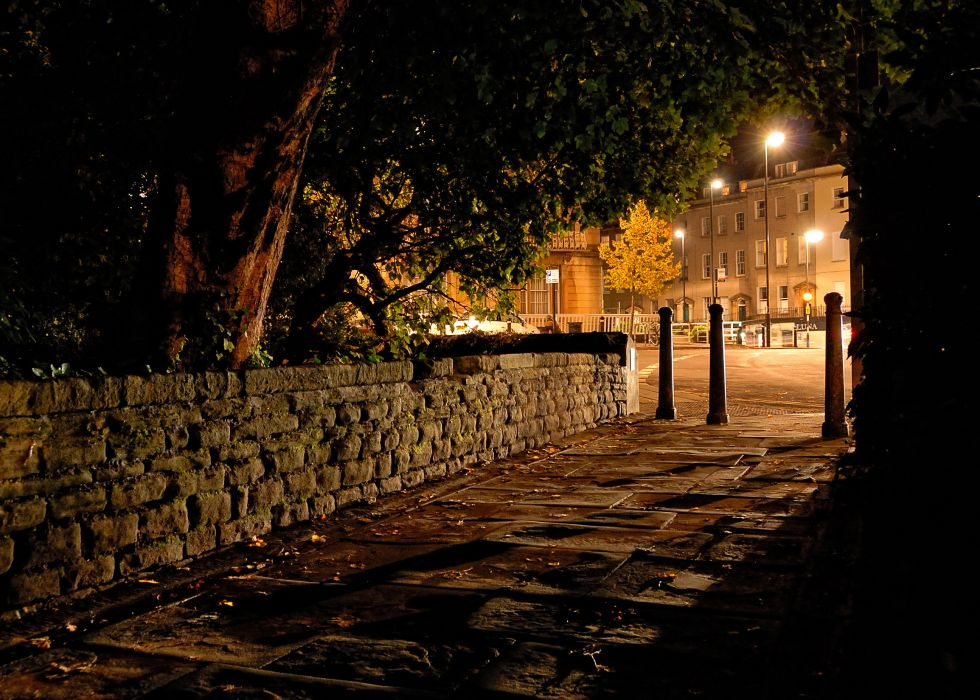 United Kingdom Clifton Bristol Night Pavement Street lights cities sidewalk path trail trees park garden wallpaper