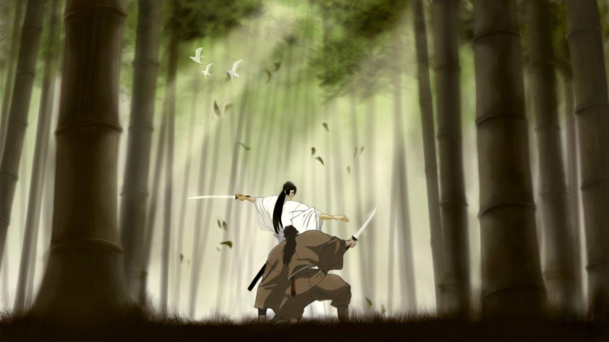 trees forest birds fighter grass bamboo samurai long hair duel kimono anime sunbeams swords warriors wallpaper