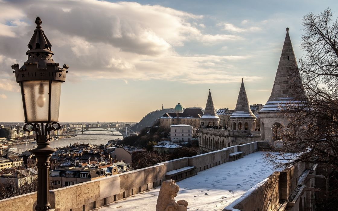 Budapest Hungary architecture buildings sky clouds winter snow wallpaper