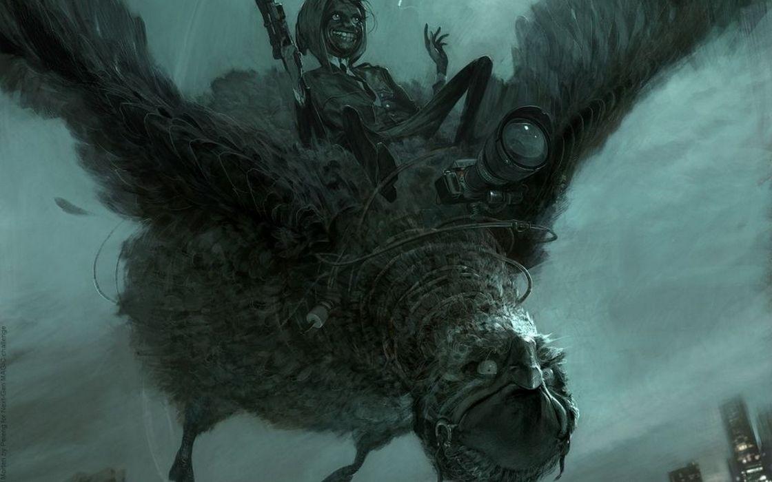 fantasy art dark creepy spooky flight fly monster creatures wallpaper
