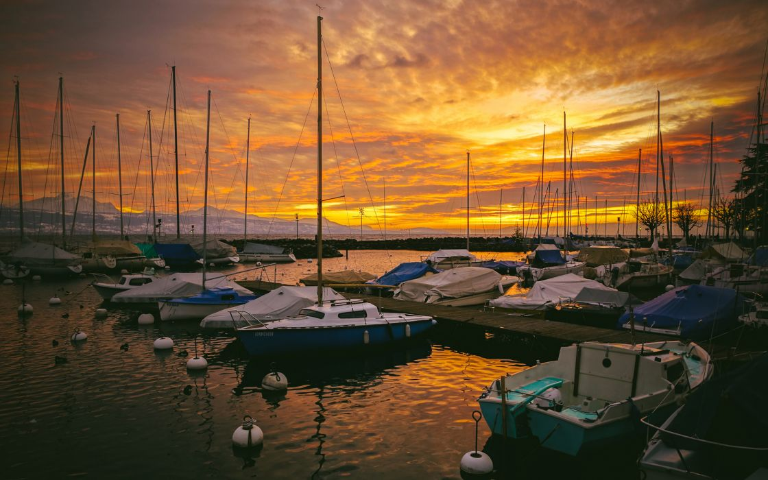 boats ships harbor sky clouds sunset sunrise wallpaper