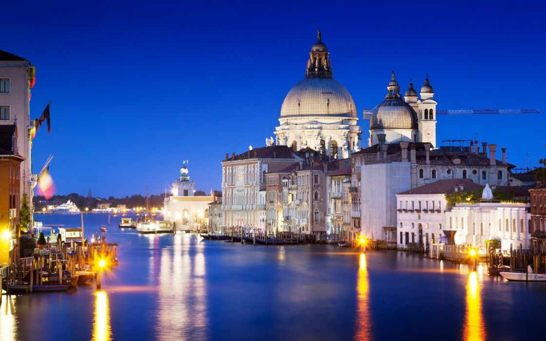 Italy Grand Canal water sea reflection light night architecture home building cities wallpaper