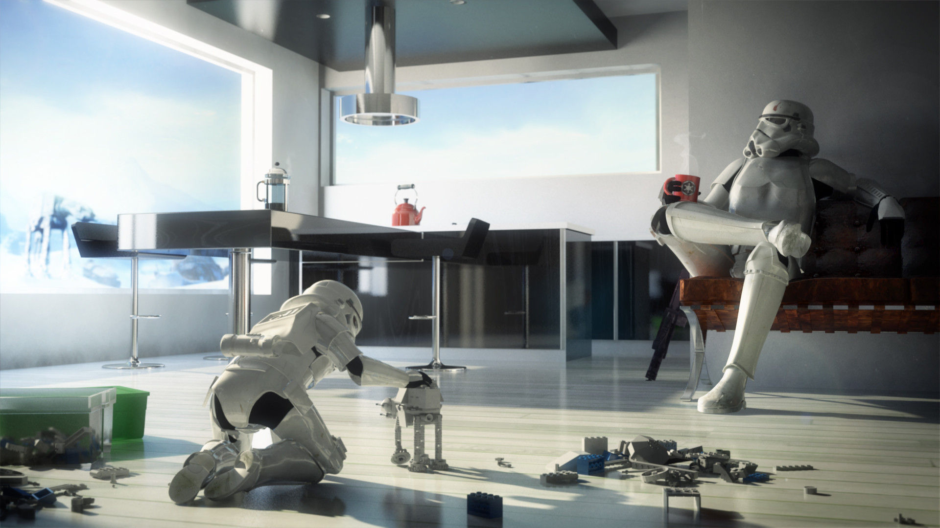 Star wars room child toy walker stormtroopers humor funny for Fun wallpaper for home