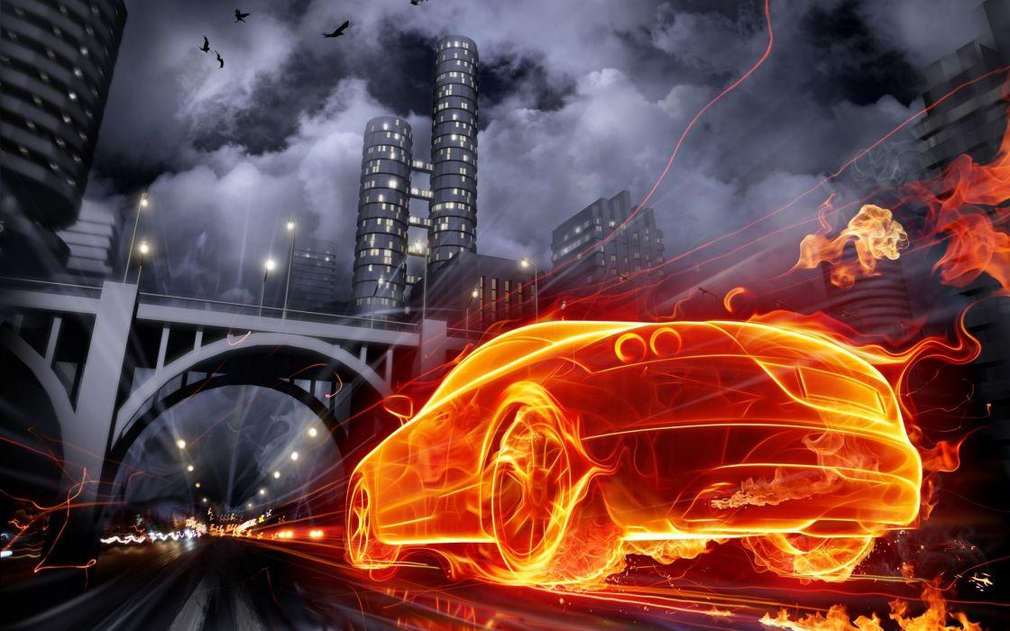 cg digital art manip fire flames cities dark bridges architecture wallpaper