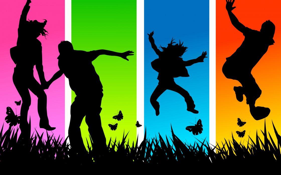 dance mood happy men women boys girls color panel collage grass wallpaper