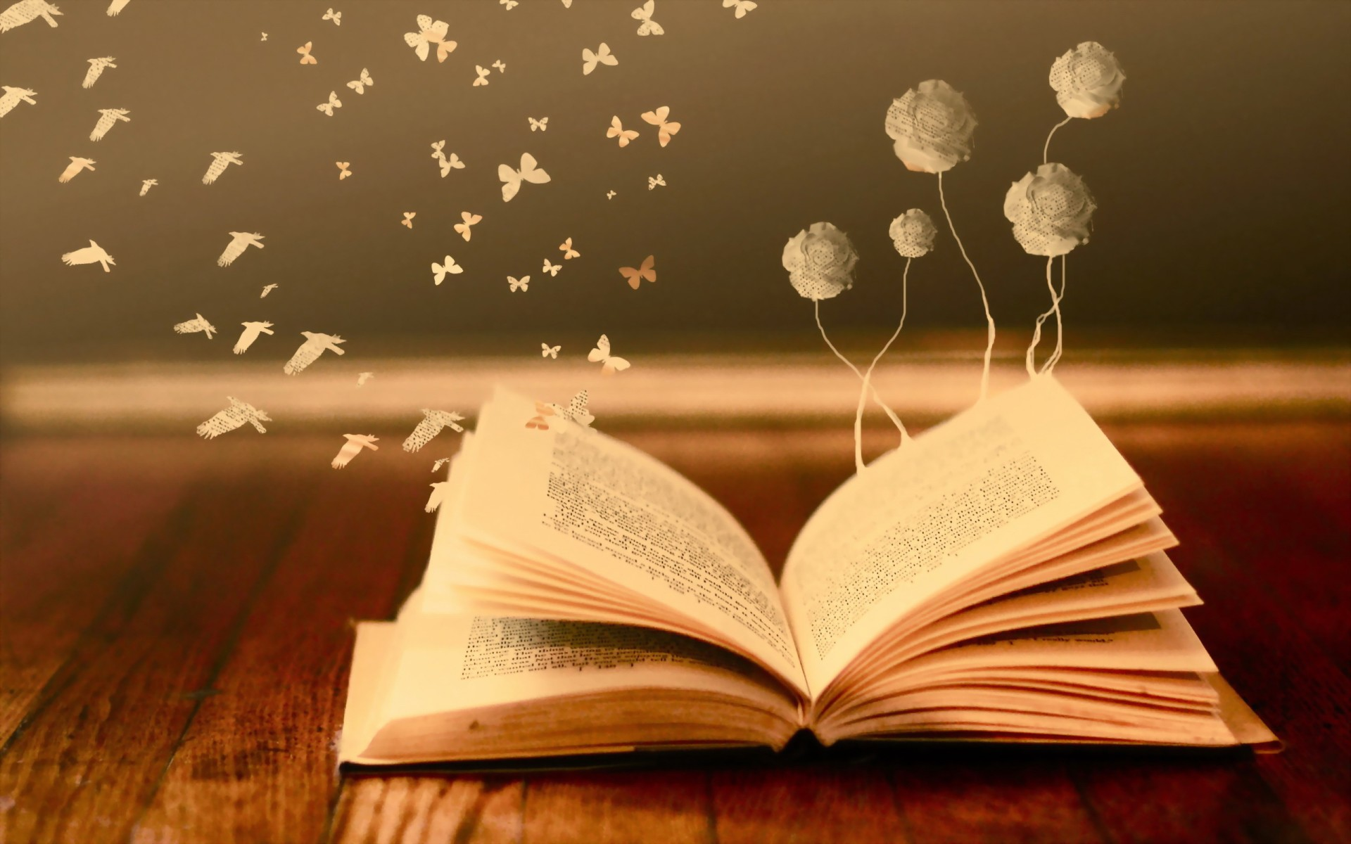 Bokeh Mood Books Read Pages Flowers Butterfly Fantasy